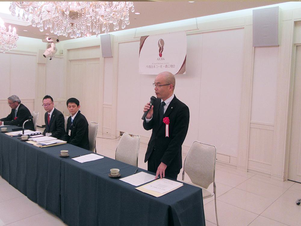 来賓の祝辞を述べる愛知県経済産業局産業部産業振興課の高見秀課長補佐様